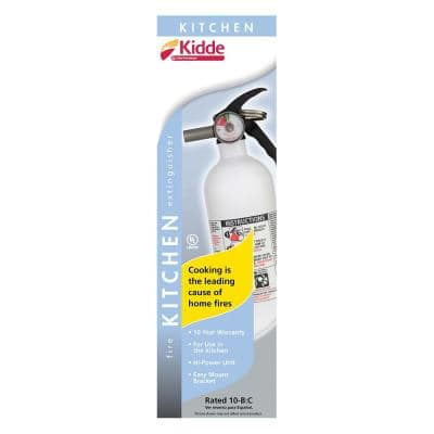 Kitchen Fire Extinguisher with Easy Mount Bracket, 10 B:C, Dry Chemical, One-Time Use
