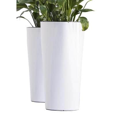 Xbrand 22 in. Tall White Plastic Nested Self Watering Indoor/Outdoor Triangle Planter Pot with Glossy Finish (Set of 2)