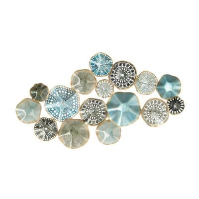 Iron Multi-Colored Floral Disc Montage Metal Work