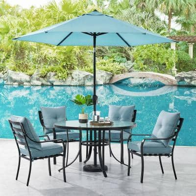 Glass Round Patio Dining Sets, 5 Piece Wicker Patio Dining Set With Umbrella Hole
