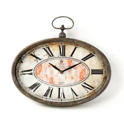 Wide Oval Distressed Iron Paris Clock