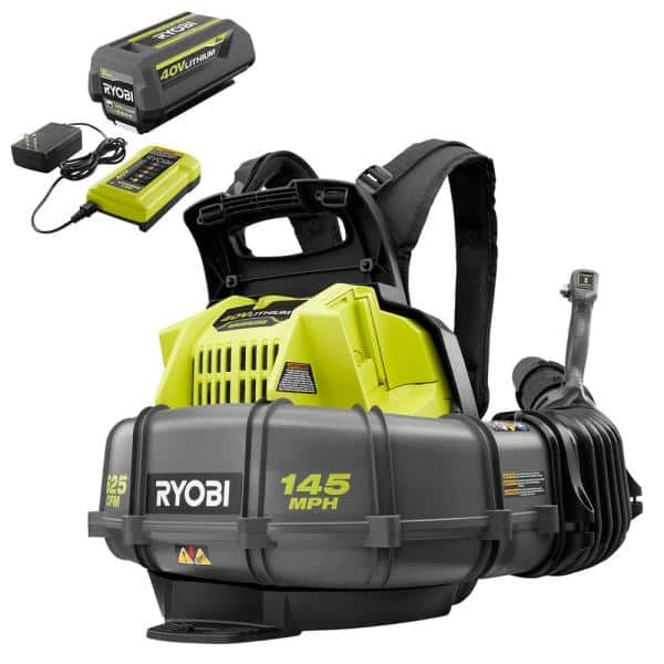 RYOBI 145 MPH 625 CFM 40V Lithium-Ion Cordless Battery Whisper Series Backpack Blower - 5.0 Ah Battery and Charger Included