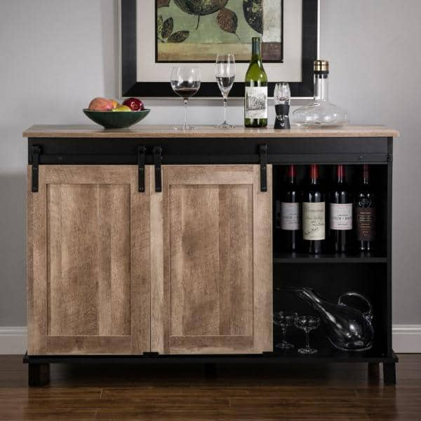 Glitzhome 47 20 In L Modern Industrial Black Wine Cabinet With With Natural Top And Sliding Doors 2008600006 The Home Depot