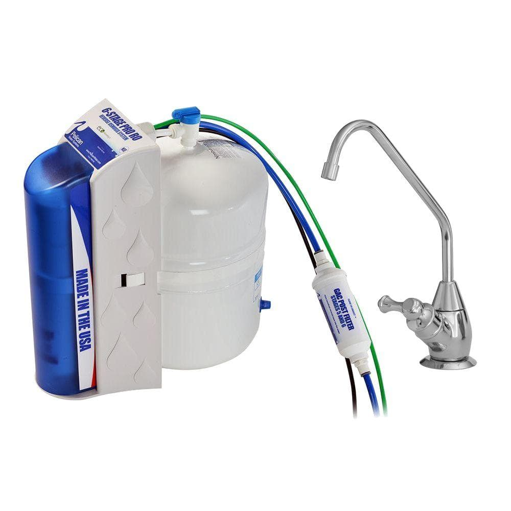 Pro 6-Stage Under Countertop Reverse Osmosis Drinking Water Filtration System with Polished Chrome Faucet Dispenser