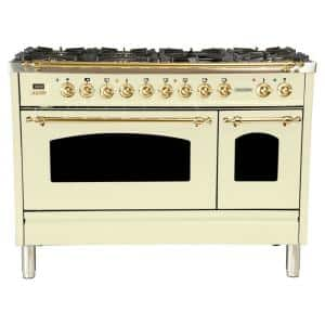 48 in. 5.0 cu. ft. Double Oven Dual Fuel Italian Range True Convection, 7 Burners, Griddle, Brass Trim in Antique White