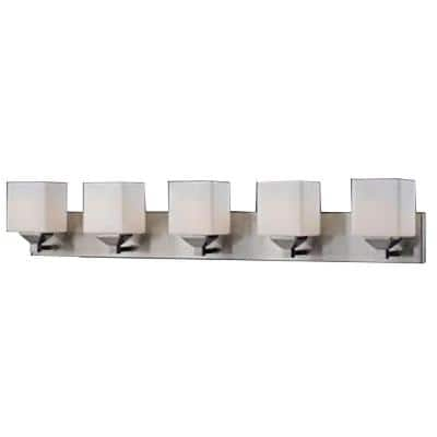 Lawrence 5-Light Brushed Nickel Steel Modern Bath Light with Matte Opal Glass Shades