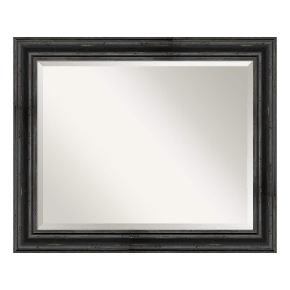 Amanti Art Medium Rectangle Black Pine Beveled Glass Modern Mirror 27 38 In H X 33 38 In W Dsw4093421 The Home Depot