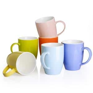12.5 oz. Assorted Colors Porcelain Coffee Mugs Espresso Cups (Set of 6)