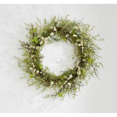 20 in. White Heather and Green Leaves Wreath