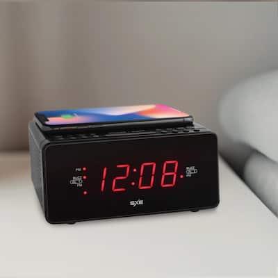 Black Plastic Digital LED Clock Radio with Wireless Charging and 1-Amp USB Charging Port - Model SXE87014CN