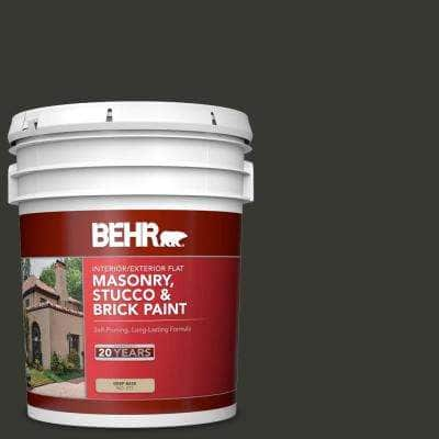 5 gal. #T13-03 Black Lacquer Flat Interior/Exterior Masonry, Stucco and Brick Paint