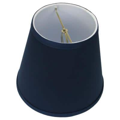 Fenchel Shades 5 in. Top Diameter x 8 in. Bottom Diameter x 7 in. Slant Empire Lamp Shade - Linen Navy Blue