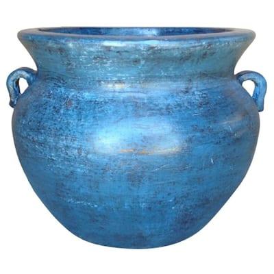 Smooth Handle 21 in. Dia Ocean Azure Clay Pot