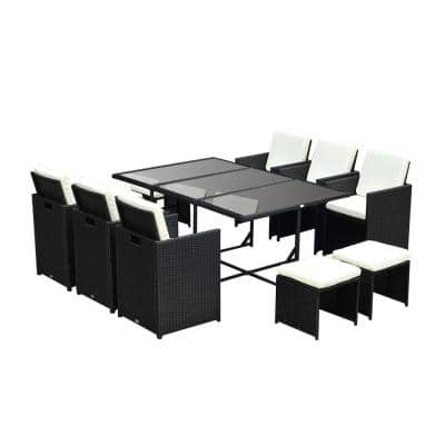 Black Plastic Wicker Rattan Patio Conversation Set with 6 Chairs, 4 Footstools, and 1 Table