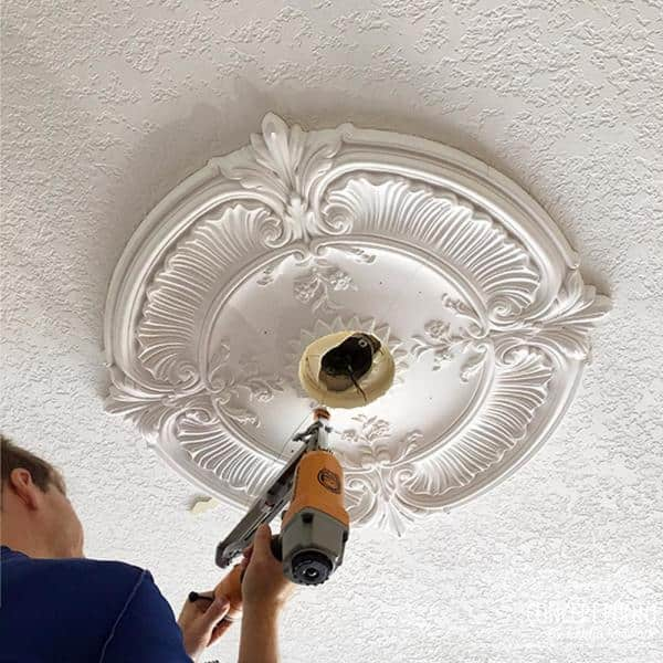 Ekena Millwork 23 1 4 X 7 8 Woodruff Urethane Ceiling Medallion Primed White Cm23wf The Home Depot