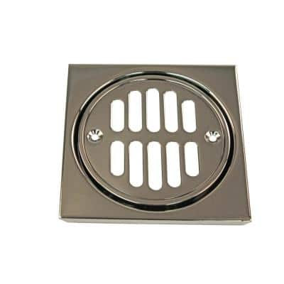 4-1/4 in. x 4-1/4 in. Shower Strainer Set Square with Crown in Polished Nickel