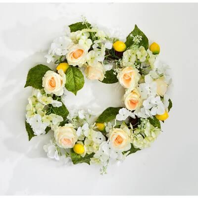 24 in. Hydrangea Lemon Wreath