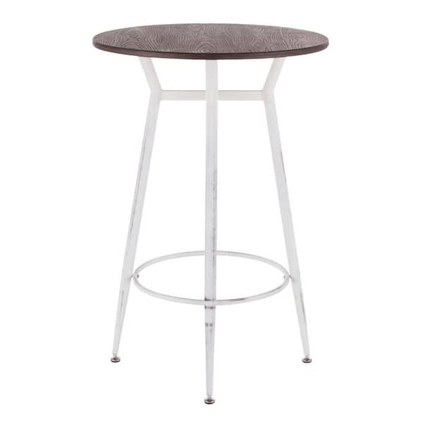 Lumisource Clara Industrial Round, Round Wood Bar Table