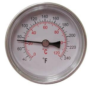 Dial Thermometer with Dual Scale and 1/2 in. MIP Connection (40 to 240°F/0 to 120°C)
