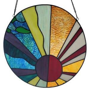 Multi-colored Earth Elements Stained Glass Window Panel