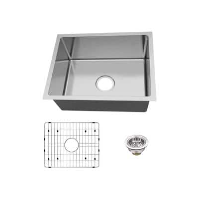 Undermount 18-Gauge Stainless Steel 23 in. 0-Hole Single Bowl Kitchen Sink with Grid and Drain Assembly