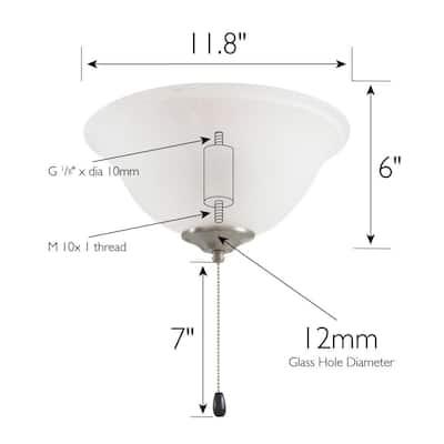 3-Light Satin Nickel LED Ceiling Fan Light Kit