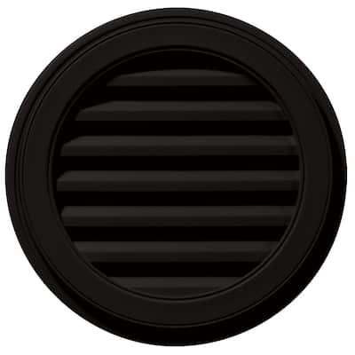 22 in. x 22 in. Round Black Plastic UV Resistant Gable Louver Vent