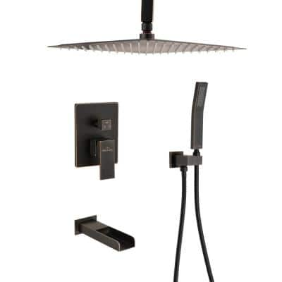 Ceiling Mount Single-Handle 1-Spray Tub and Shower Faucet with 10 in. Shower Head in Oil Rubbed Bronze (Valve Included)