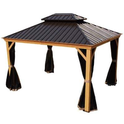 Apollo 10 ft. x 12 ft. Wood Like Aluminum Hardtop Gazebo with Galvanized Steel Roof and Mosquito Net