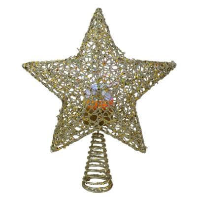 13 in. LED Lighted Gold Star with Rotating Projector Christmas Tree Topper