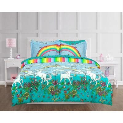Unicorn Rainbow Multicolored Queen Bed in a Bag with Reversible Comforter