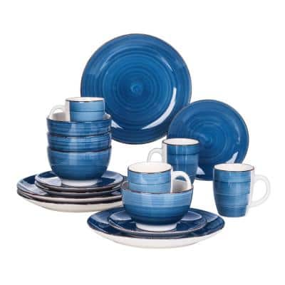 16-Piece Modern Concentric Circles Blue Porcelain Dinnerware Sets (Service for Set for 4)