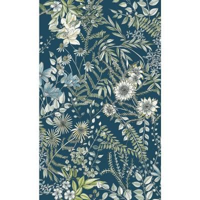 Full Bloom Navy Floral Paper Non-Pasted Wallpaper Roll (Covers 56.4 Sq. Ft.)