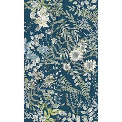 Full Bloom Navy Floral Navy Wallpaper Sample