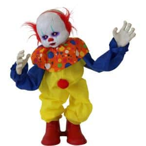 24 in. Battery Operated Animatronic Clown with Red LED Eyes Halloween Prop