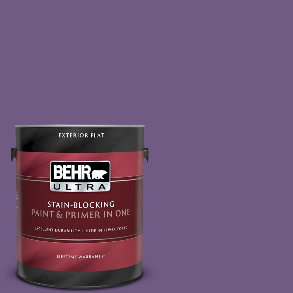 Behr Ultra 1 Gal 650b 7 Mystical Purple Flat Exterior Paint And Primer In One 485301 The Home Depot