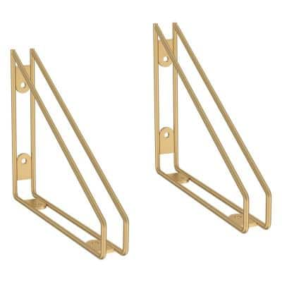 8.58 in. Brushed Brass Wire Frame Decorative Shelf Bracket for Wood Shelving (2-Pack)
