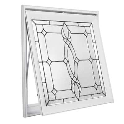 27.25 in. x 27.25 in. Decorative Glass Craftsman Nickel Caming White Awning Vinyl Window