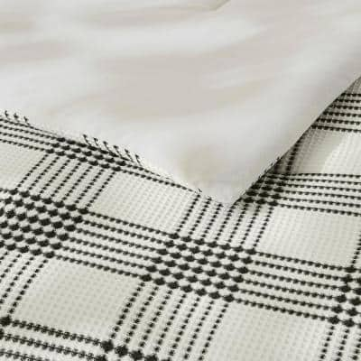 Adderley 3-Piece Black and White Waffle Weave Plaid Comforter Set
