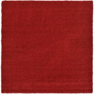 Solid Shag Cherry Red 8 ft. Square Area Rug