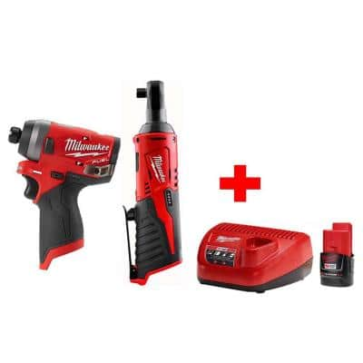 M12 12-Volt Lithium-Ion Cordless 3/8 in. Ratchet & FUEL 1/4 in. Impact Driver Combo Kit with (1) 2.0Ah Battery & Charger
