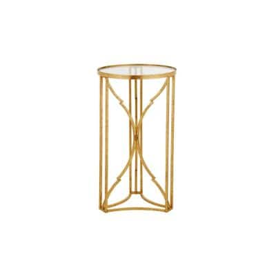 Gold Leaf Metal and Glass Accent Table with Hourglass Shape Base (15.75 in. W x 27.75 in. H)