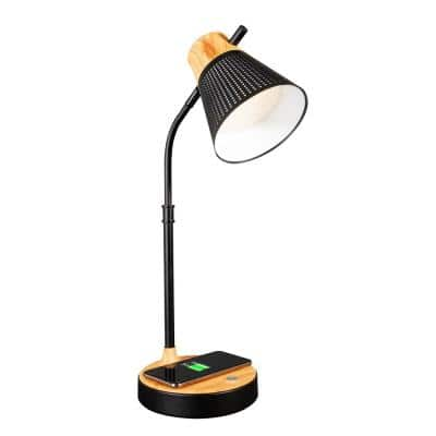 25 in. Black Wireless Charging LED Table Lamp