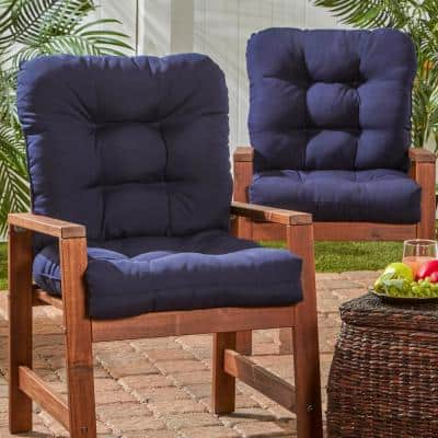 Solid Navy 21 in. x 42 in. Outdoor Dining Chair Cushion (2-Pack)