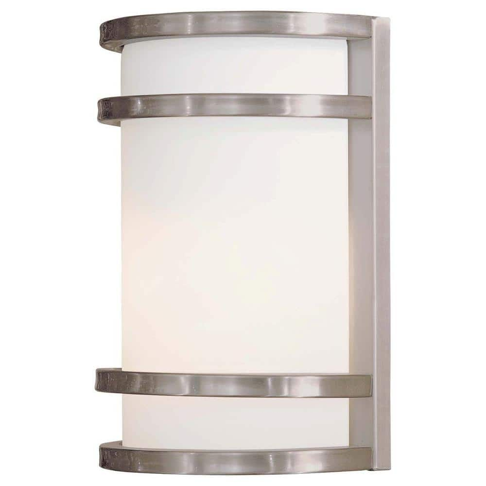 the great outdoors by minka lavery bay view 1 light brushed stainless steel outdoor wall lantern sconce 9801 144 the home depot