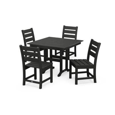 Grant Park Black 5-Piece Plastic Side Chair Outdoor Dining Set