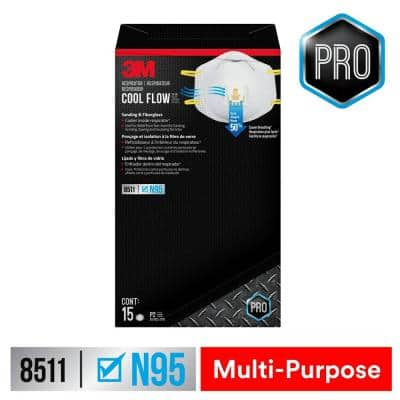 8511 N95 Sanding and Fiberglass Valved Respirator (15-Pack)