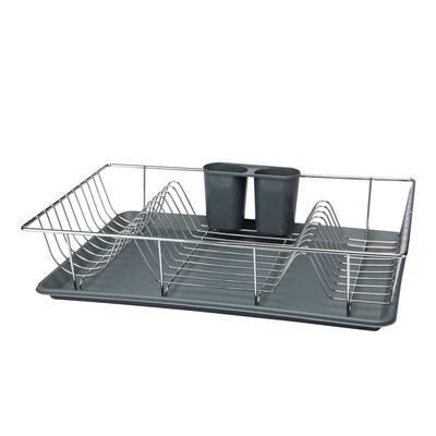 3-Piece Chrome Dishrack with Tray in Grey