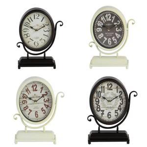 Black Metal Vintage Analog Tabletop Clock (Set of 4)