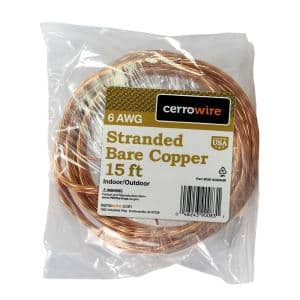 15 ft. 6/1 Stranded Bare Copper Grounding Wire